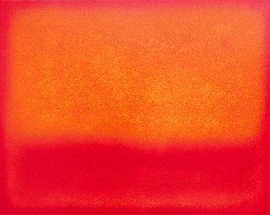 color field painting red-orange