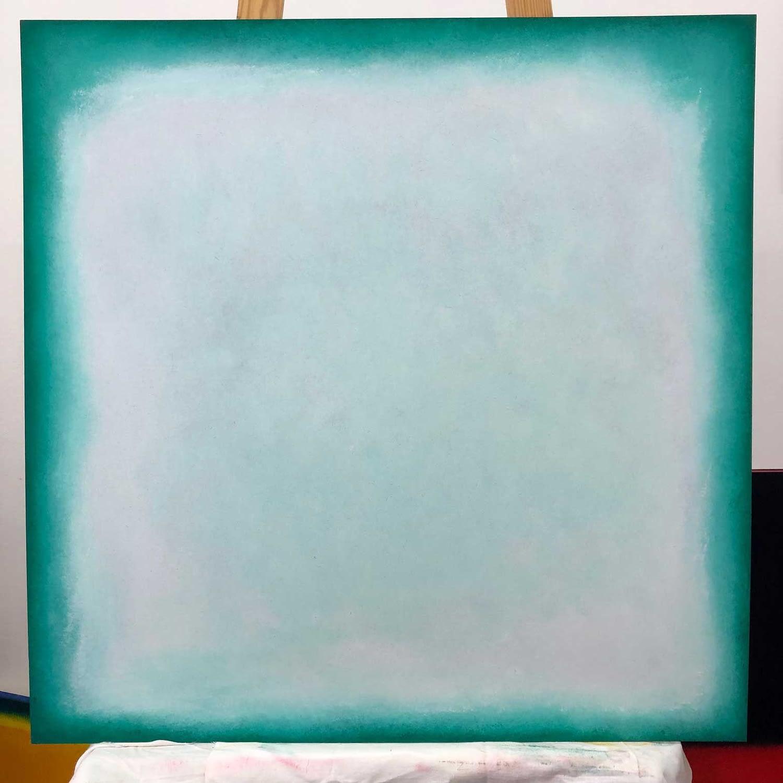 white & turqouise started 2010 | oil on wood | 100 x100