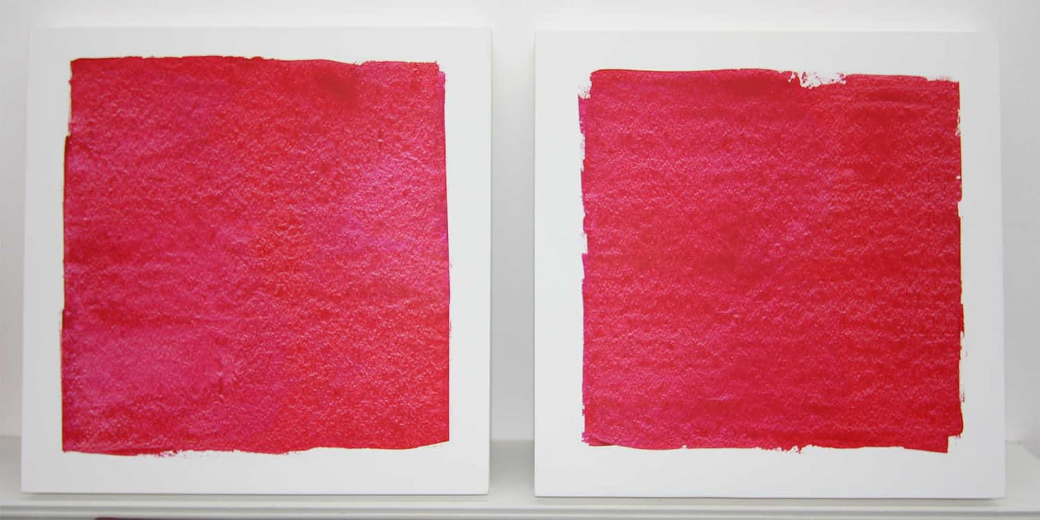 two red colorfieldpaintings on gesso ground | 2019 | 40x40 cm