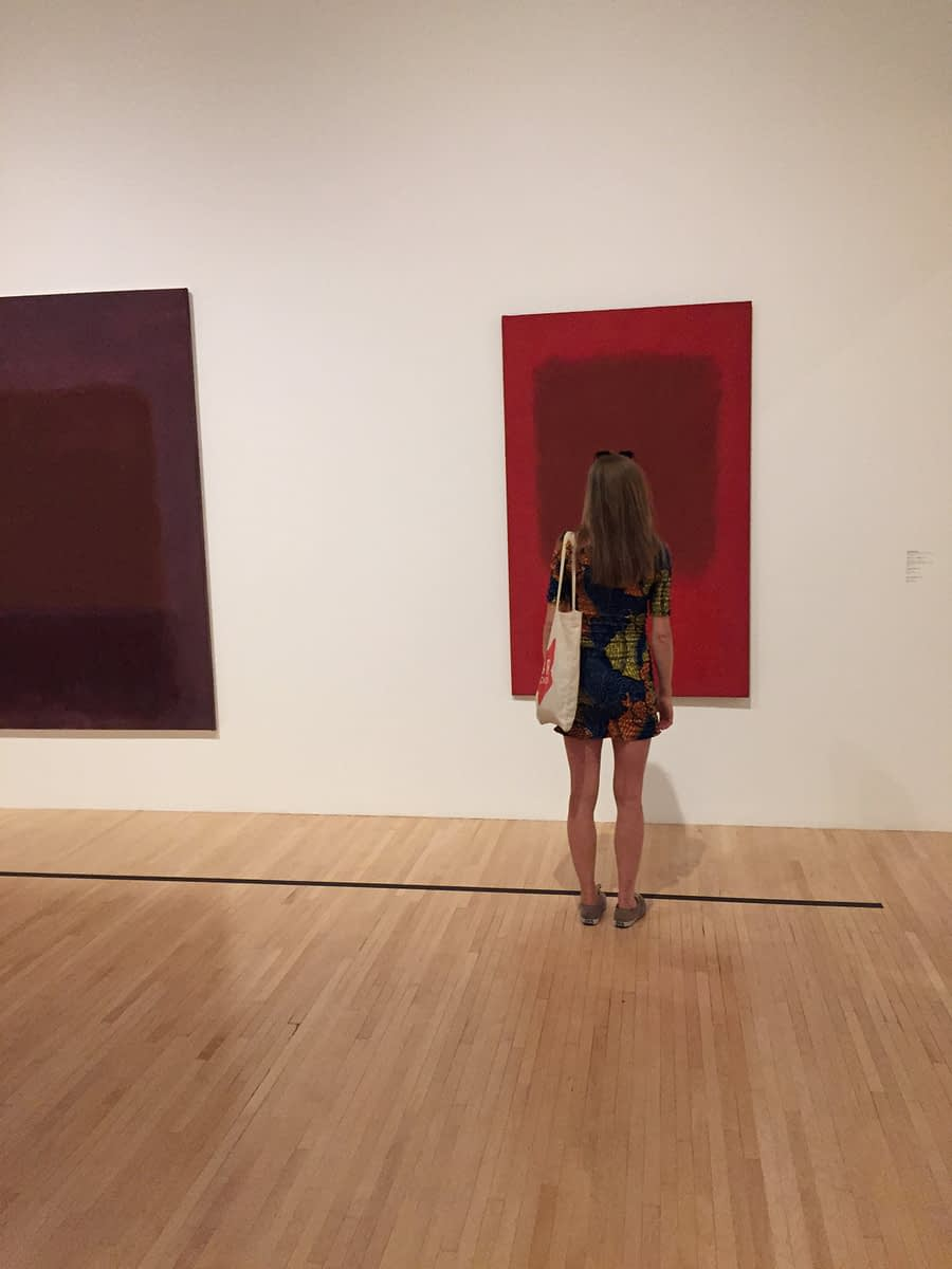 Mark Rothko room in MOCA with viewer