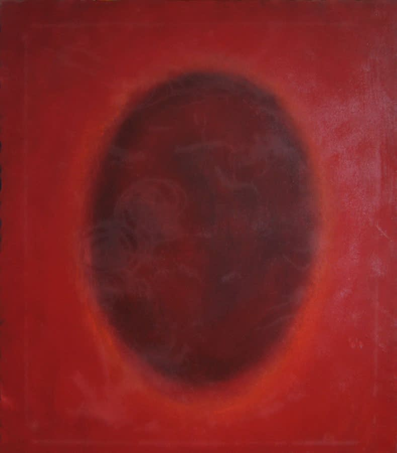 color field painting red-oval