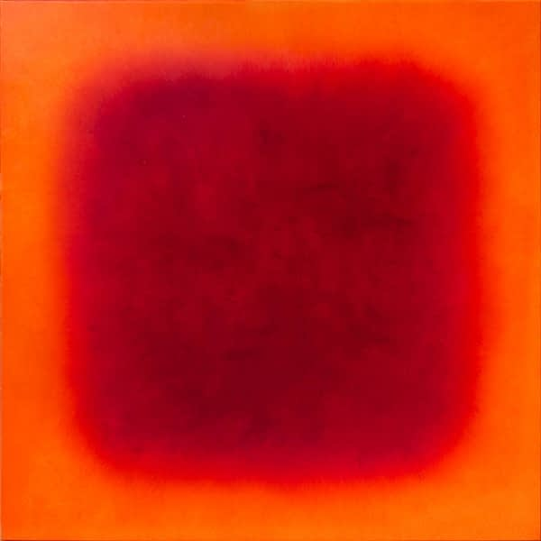 brightred on orange   2020   oil on wood   80 x 80 cm